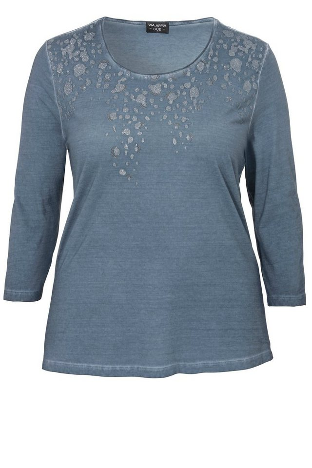 VIA APPIA DUE Softes Baumwoll-Jersey-Shirt mit geschmücktem Dekolleté in TINTE