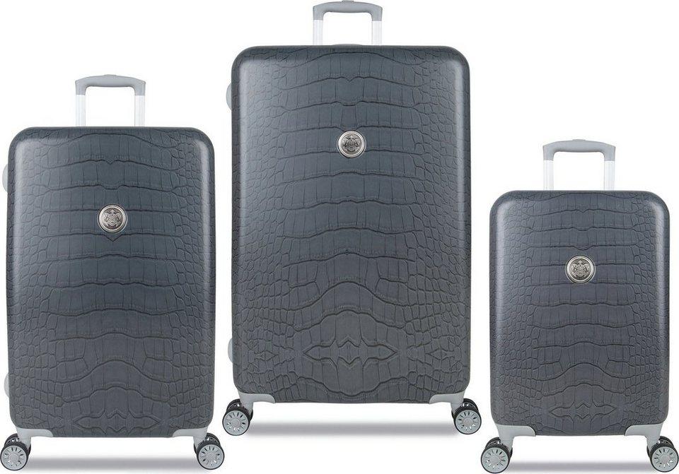 SUITSUIT® Hartschalentrolley Set mit 4 Rollen, 3-tlg., »Grey Diamond Crocodile« in grau