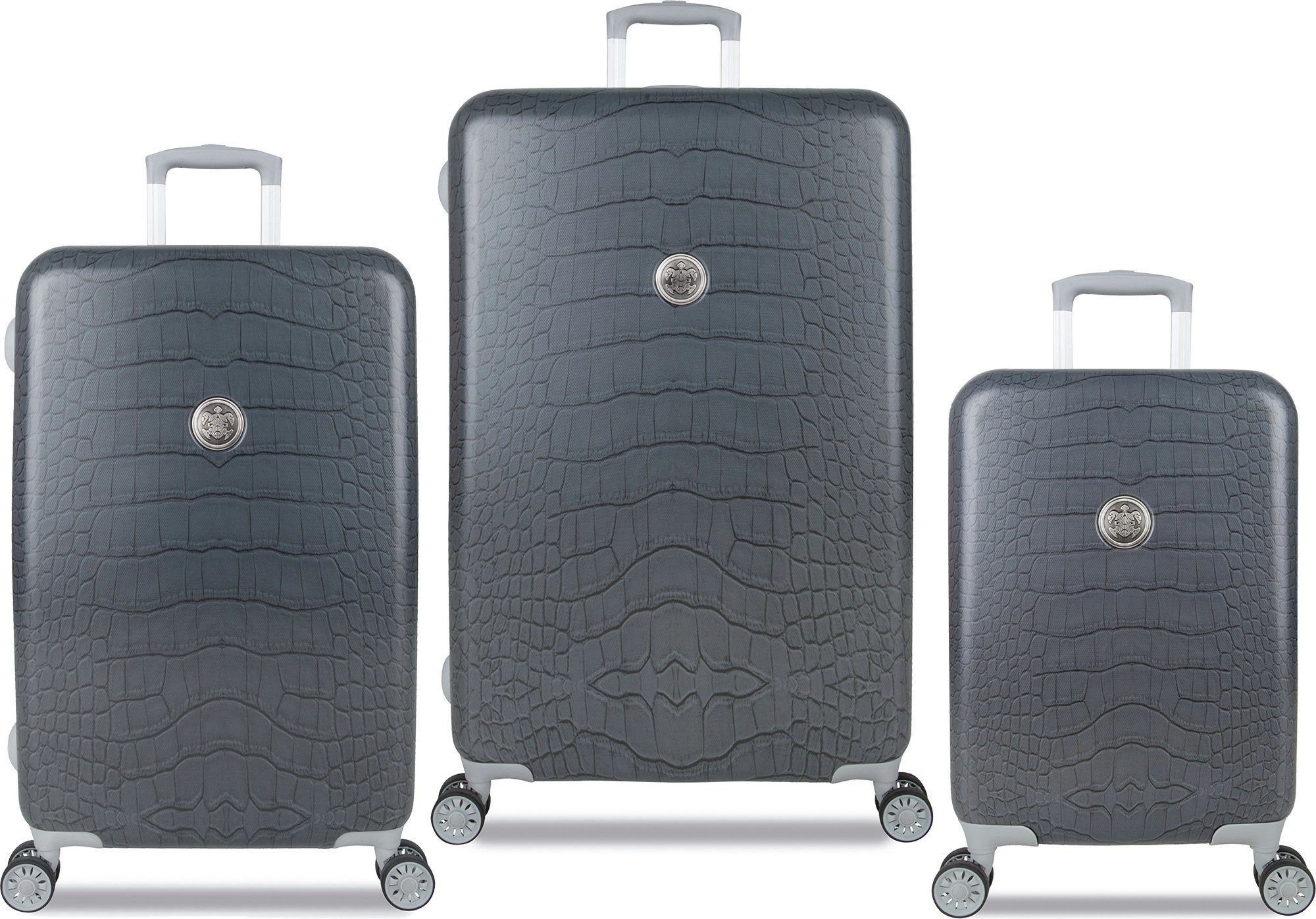 SUITSUIT® Hartschalentrolley Set mit 4 Rollen, 3-tlg., »Grey Diamond Crocodile«