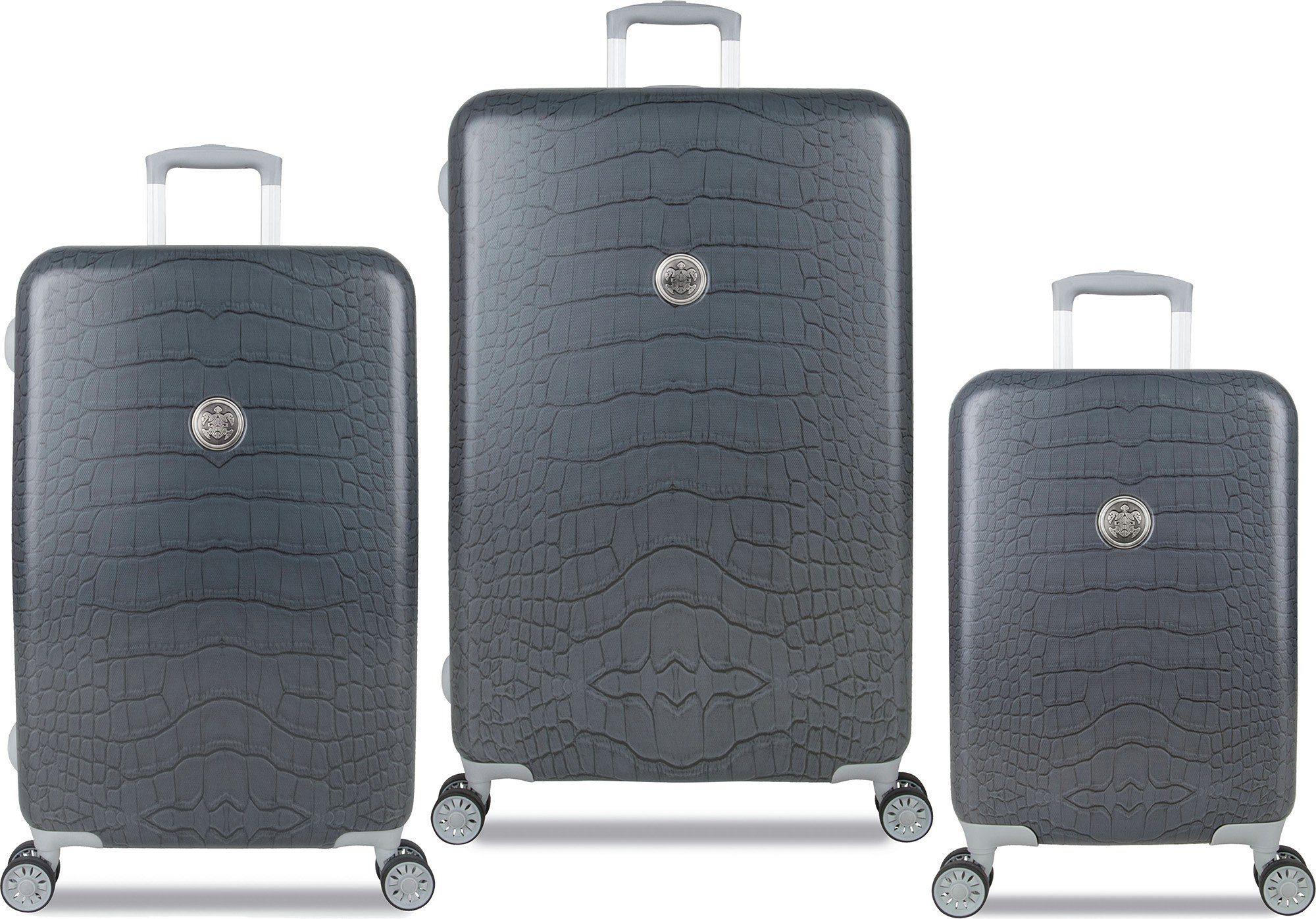 SUITSUIT® Hartschalentrolley Set mit 4 Rollen, 3-tlg., »Grey Diamond Crocodile«
