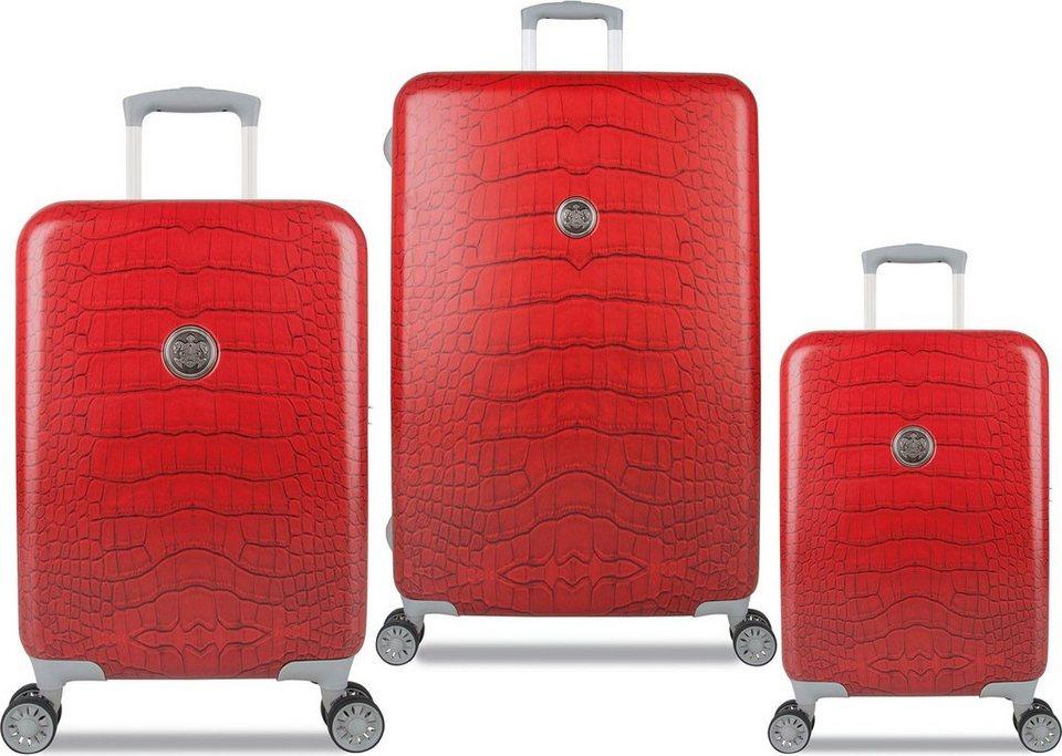 SUITSUIT® Hartschalentrolley Set mit 4 Rollen, 3-tlg., »Red Diamond Crocodile« in rot