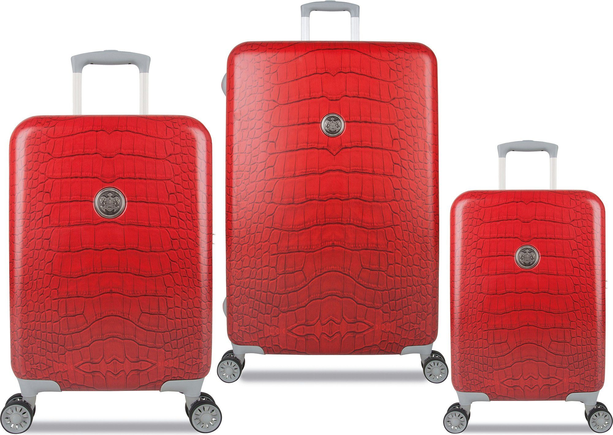 SUITSUIT® Hartschalentrolley Set mit 4 Rollen, 3-tlg., »Red Diamond Crocodile«