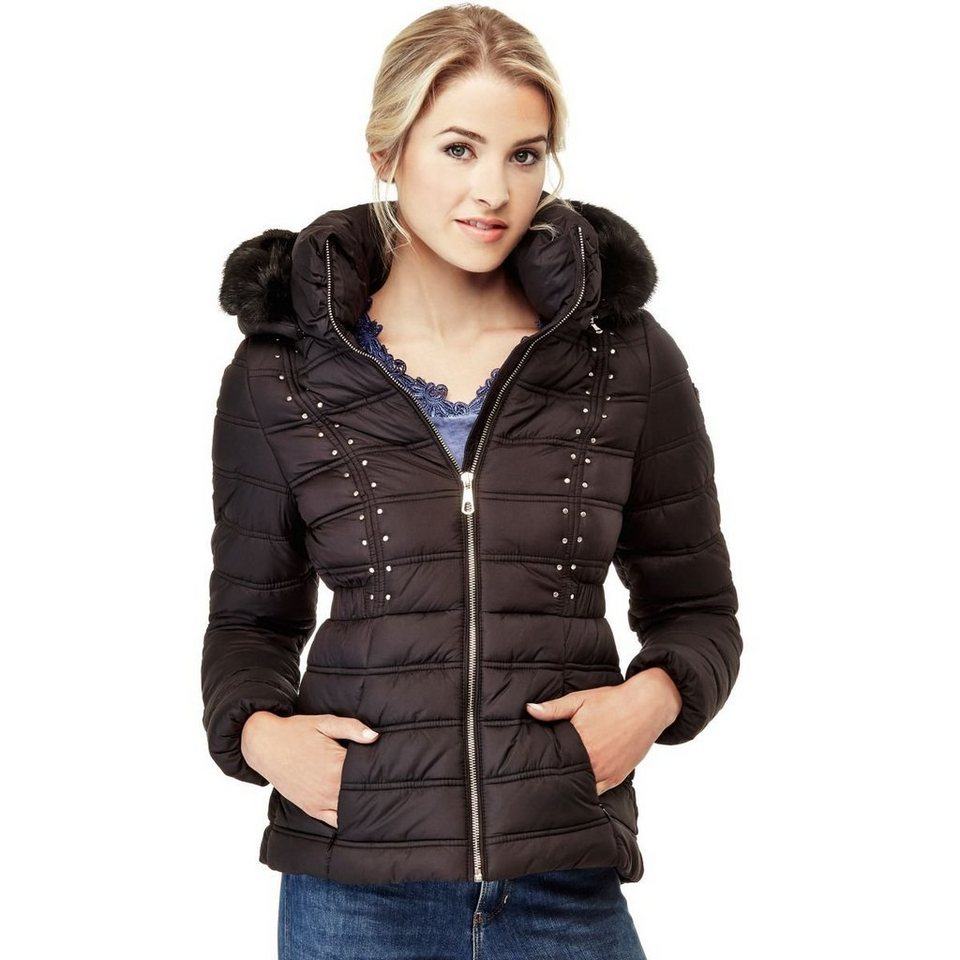 Guess STEPPJACKE KUNSTFELL in Schwarz