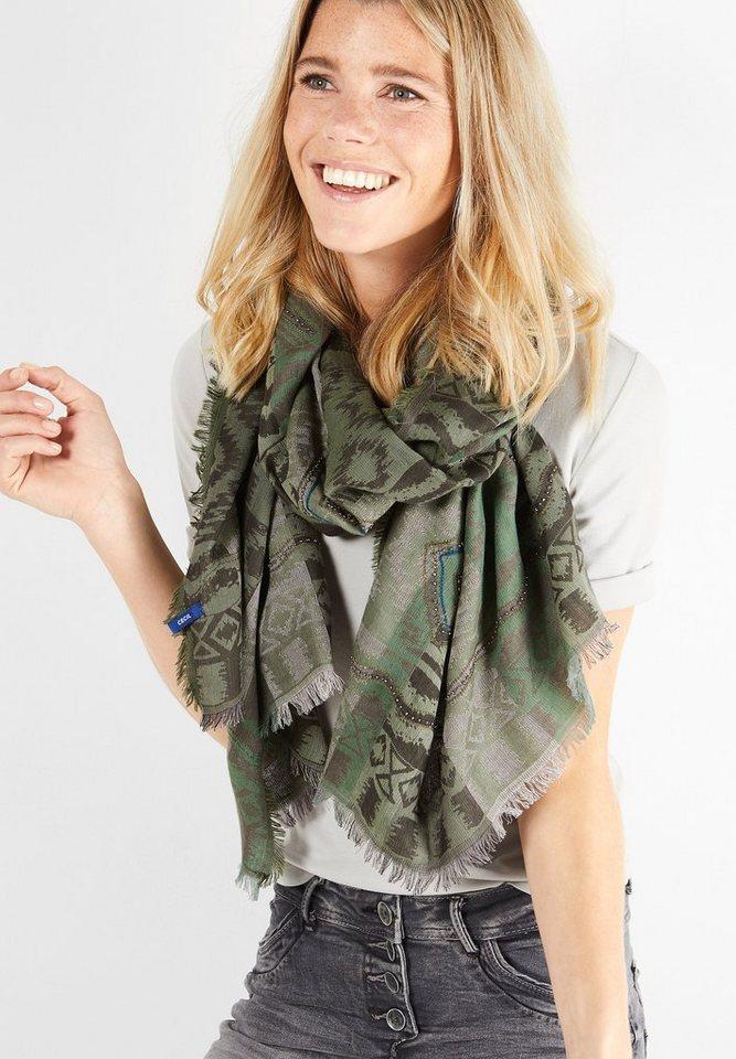 CECIL Langer Schal mit Miniperlen in loden frost green
