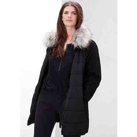 TRIANGLE Mantel mit Steppfront und Fake Fur