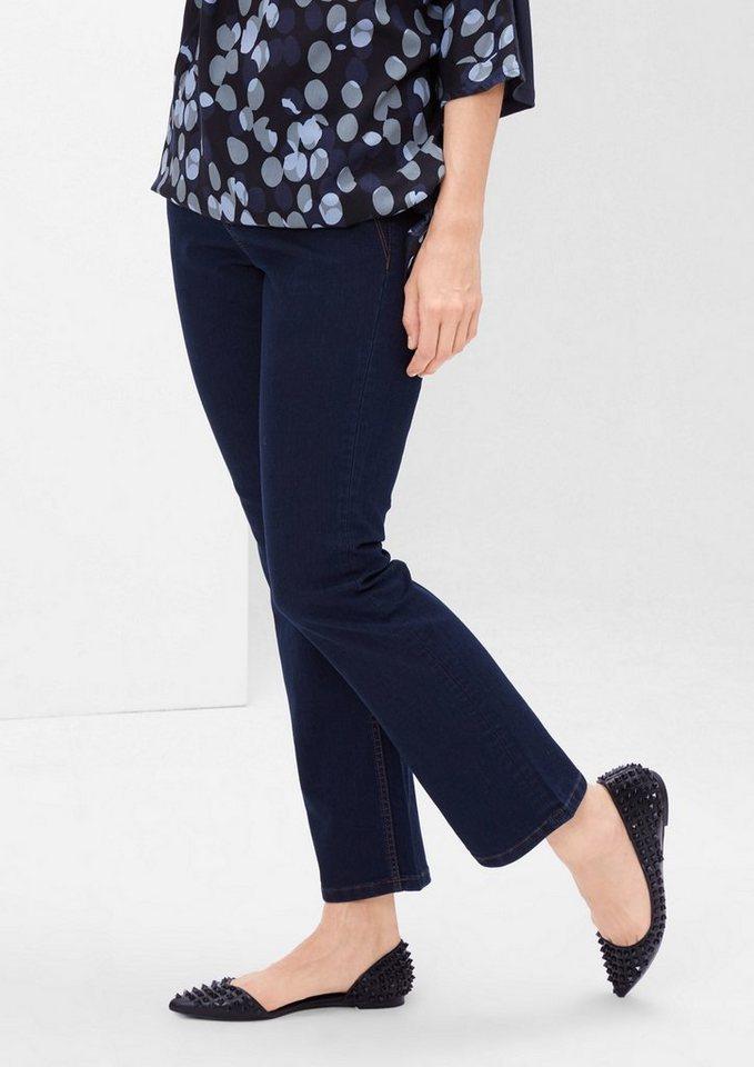 TRIANGLE Curvy: Stretchige Bootcut-Jeans in blue denim stretch