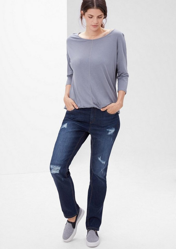 TRIANGLE Curvy: Destroyed Stretch-Jeans in ocean blue
