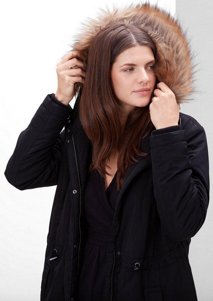 TRIANGLE Wintermantel mit Fake Fur-Kapuze in black