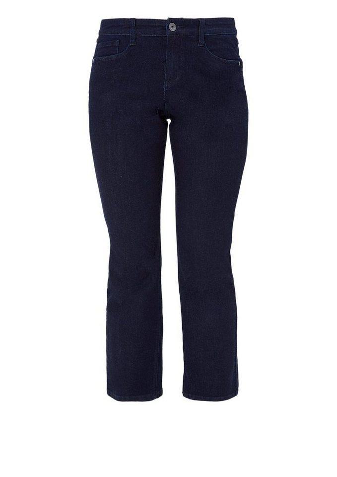 TRIANGLE Curvy: Gerade Stretch-Jeans in blue denim stretch
