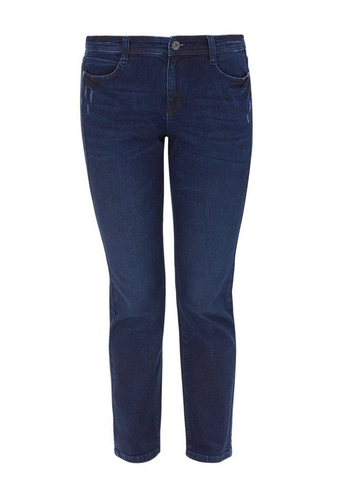 TRIANGLE Curvy: Stretchige 5-Pocket-Jeans in dark blue