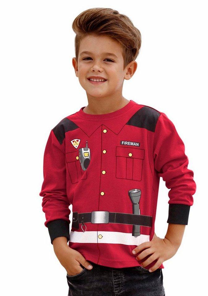 "KIDSWORLD Langarmshirt ""Feuerwehrmann"" in rot"