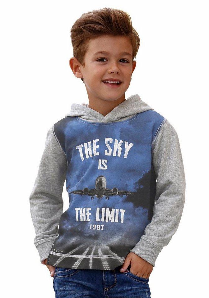 s.Oliver RED LABEL Junior Kapuzensweatshirt mit großem Fotodruck in grau-meliert