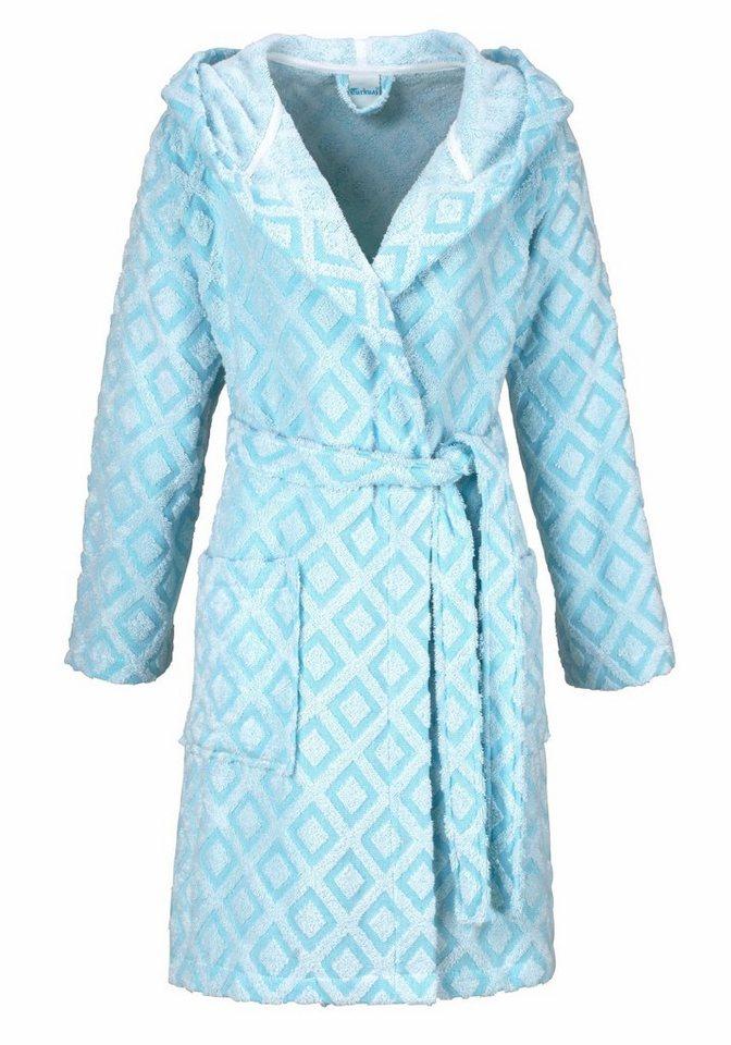 Damenbademantel, my home Selection, »Nele«, mit kleinen Vierecken in weiß-mint