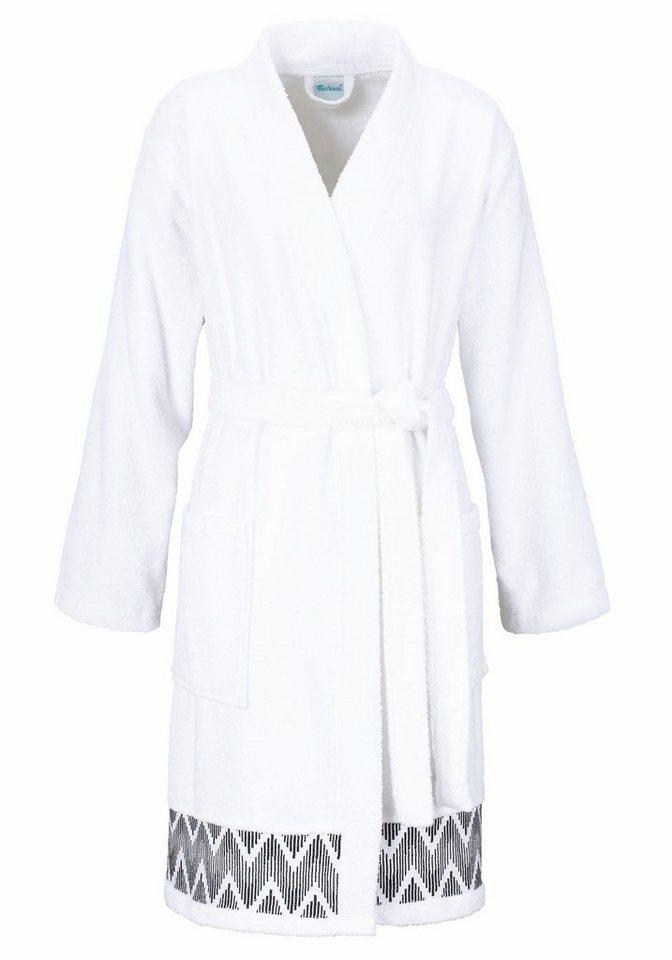 Damenbademantel, my home Selection, »Finja«, mit Zick-Zack-Muster in weiß