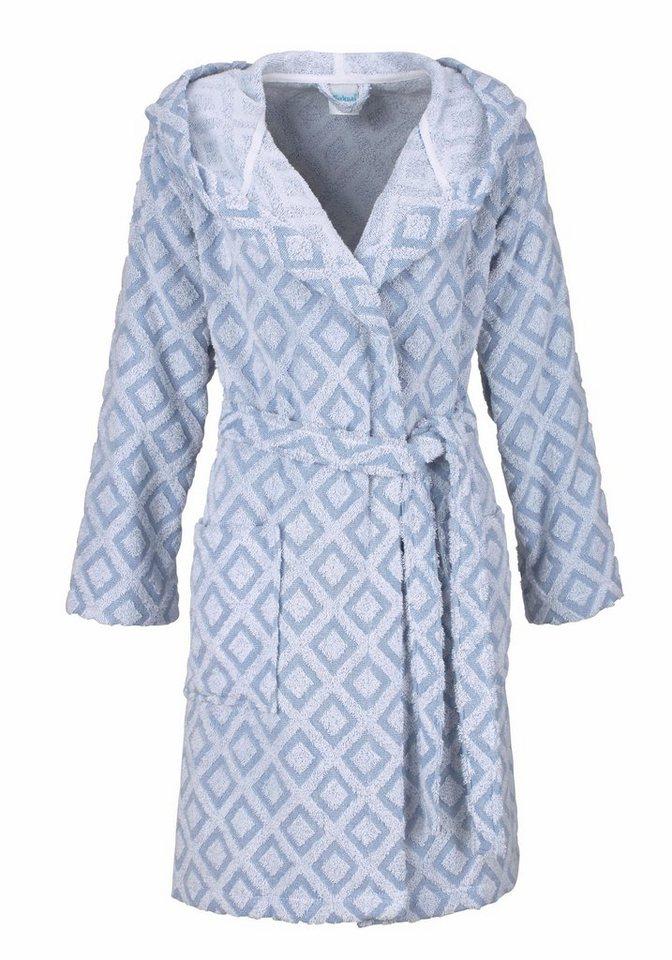 Damenbademantel, my home Selection, »Nele«, mit kleinen Vierecken in weiß-grau