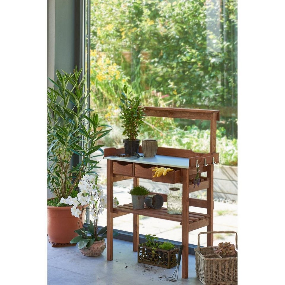 home affaire pflanztisch mit 3 schubf cher kaufen otto. Black Bedroom Furniture Sets. Home Design Ideas
