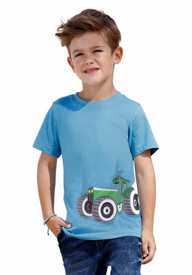 KIDSWORLD T-Shirt mit großer Traktor Applikation vorn in hellblau