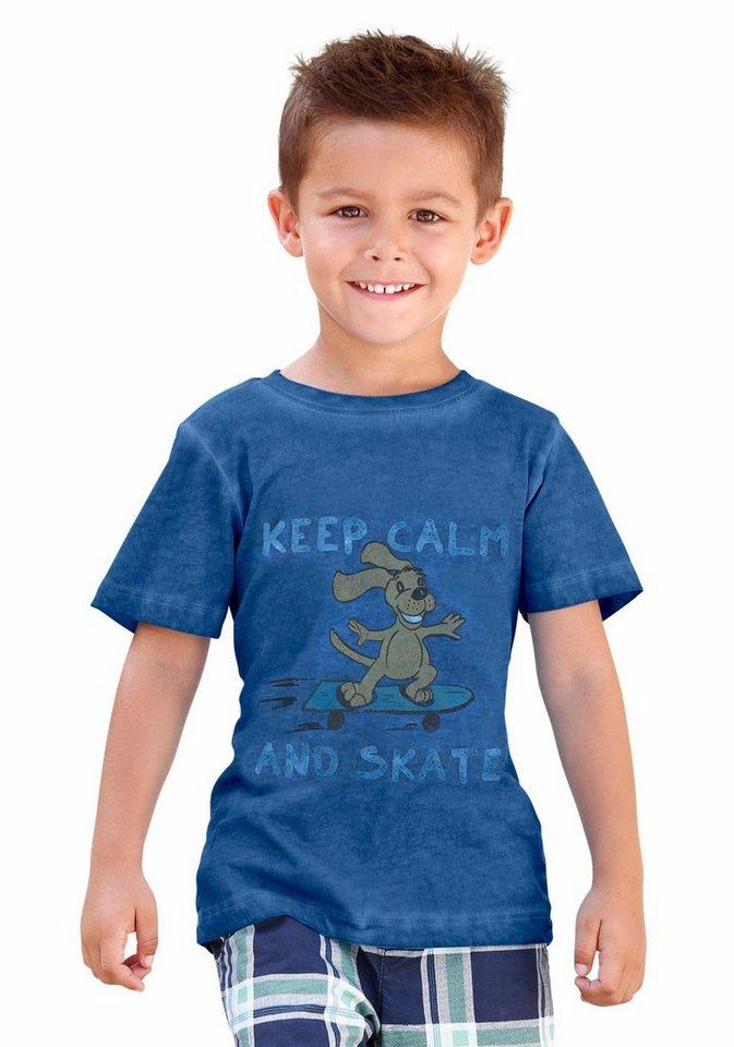 "KIDSWORLD T-Shirt mit coolem Spruch ""Keep calm and skate"" in royalblau"