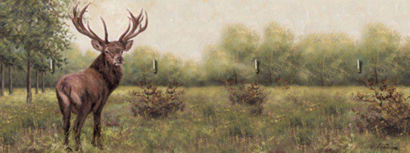 Artland Schlüsselbrett »Tiere Wildtiere Hirsch Malerei Grün«