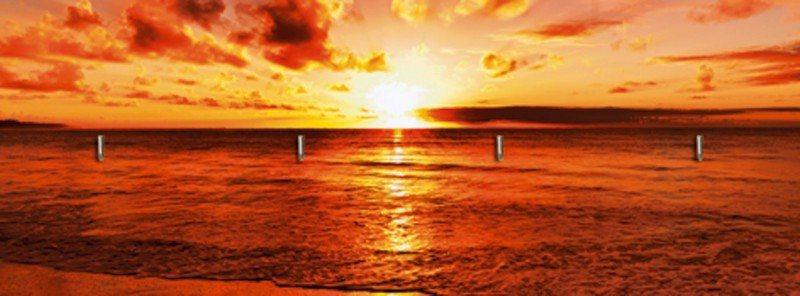 Artland Schlüsselbrett »Landschaften Sonnenuntergang Fotografie Orange« in Orange