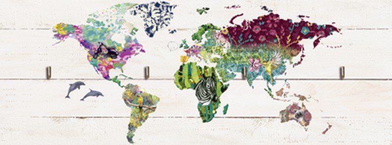 Artland Schlüsselbrett »Landschaften Landkarten Digitale Kunst Bunt«