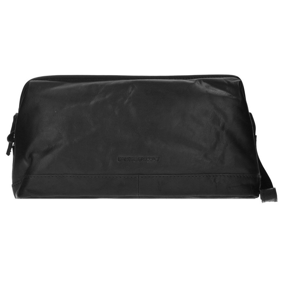 Spikes & Sparrow Toiletry Bag Kulturbeutel Leder 30 cm in black