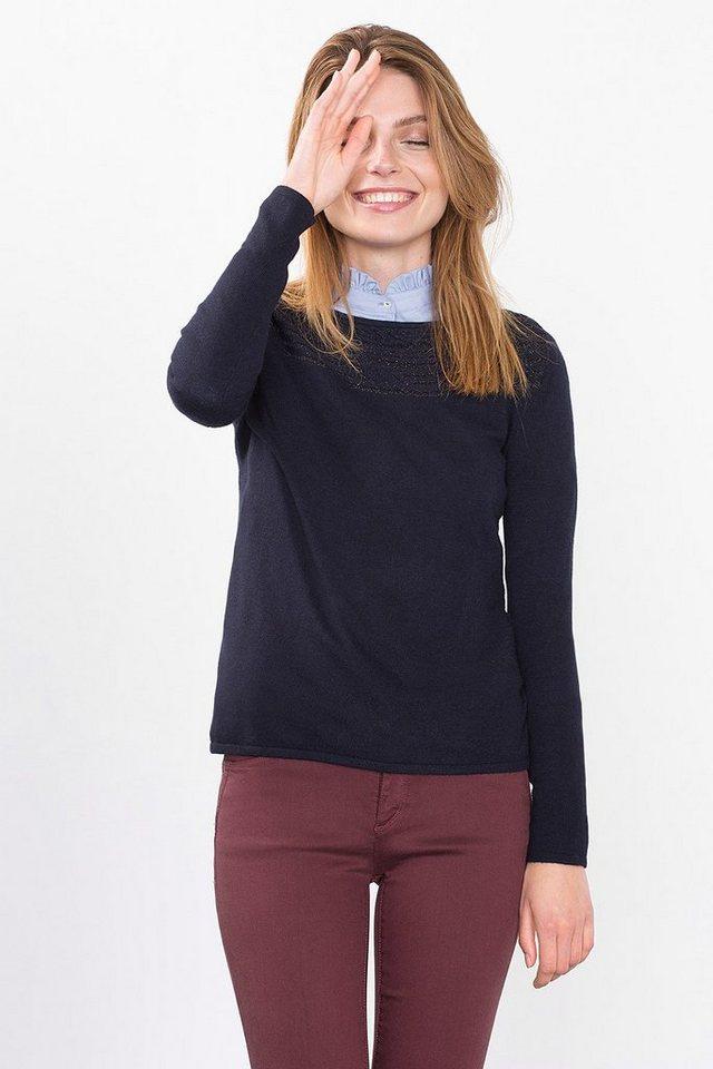 ESPRIT COLLECTION Feinstrick Sweater mit Glanzakzenten in NAVY