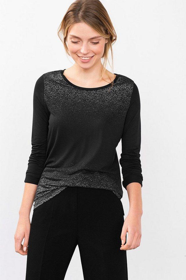 ESPRIT COLLECTION Fließendes Jersey Shirt mit Glanz-Print in BLACK