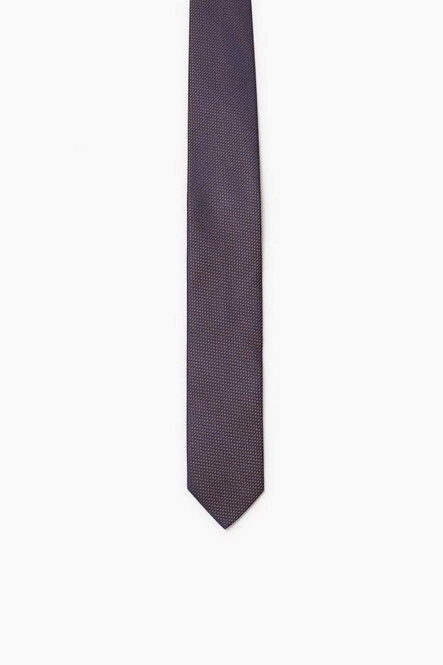 ESPRIT COLLECTION Krawatte mit 2Tone-Struktur, 100% Seide in TOFFEE