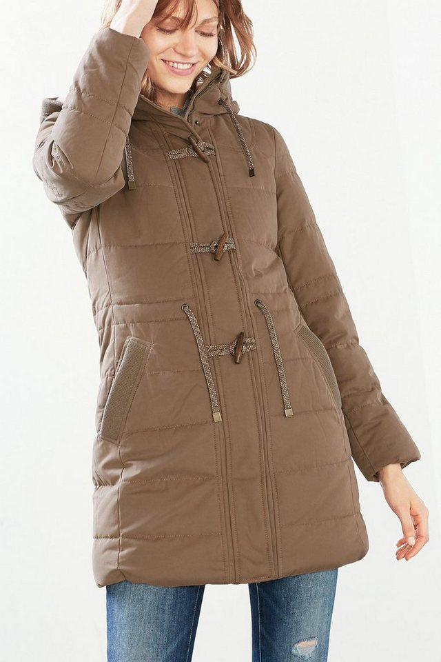 EDC Wattierter Dufflecoat m. Teddy-Futter in LIGHT TAUPE