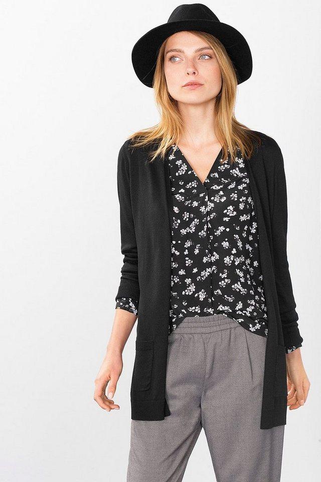 ESPRIT CASUAL Offener Long-Cardigan aus feinem Strick in BLACK