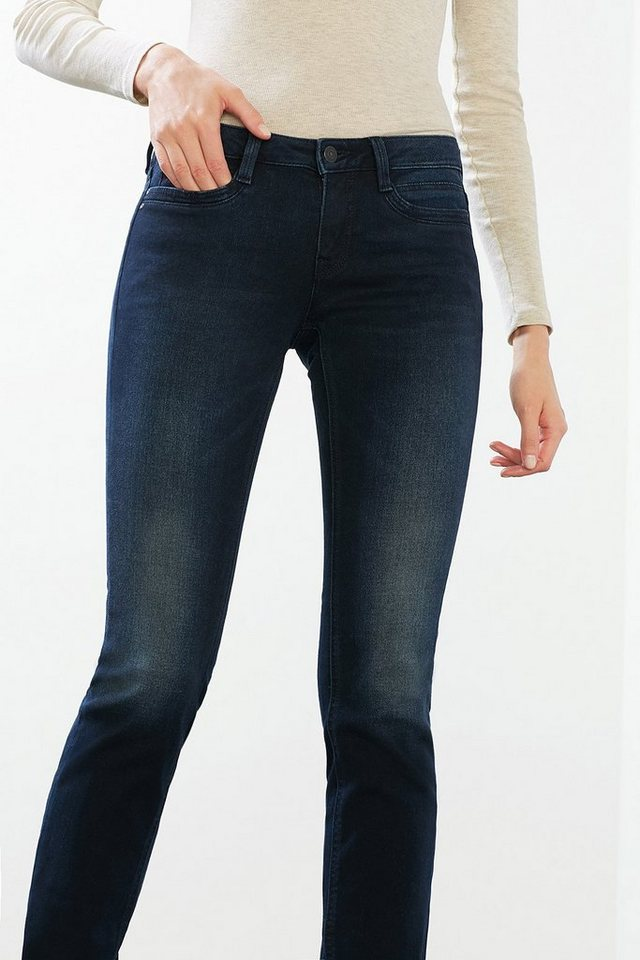 EDC Perfect-Shape Flap-Pocket Jeans in BLUE DARK WASHED