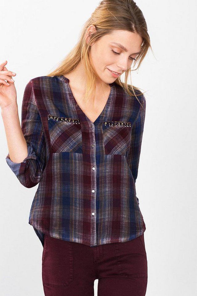ESPRIT CASUAL Doubleface-Karo-Bluse, 100% Baumwolle in NAVY