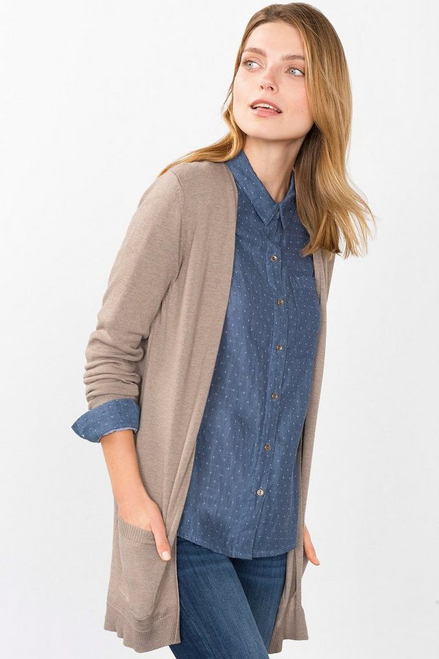 ESPRIT CASUAL Offener Long-Cardigan aus feinem Strick in TAUPE