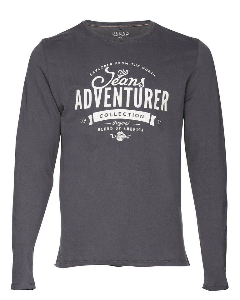 Blend T-Shirt langarm in Dunkel grau