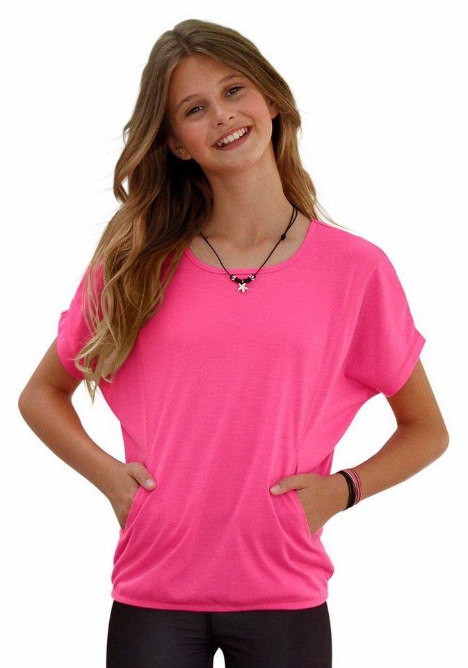 KangaROOS Fledermausshirt aus sportlichem, elastischem Material in pink