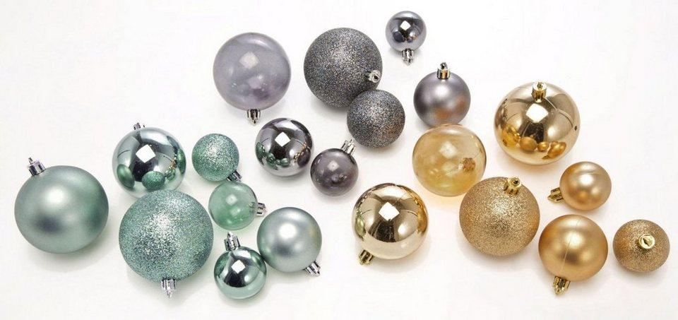Weihnachtskugeln, 86-teilig in goldfarben/anthrazit/petrol