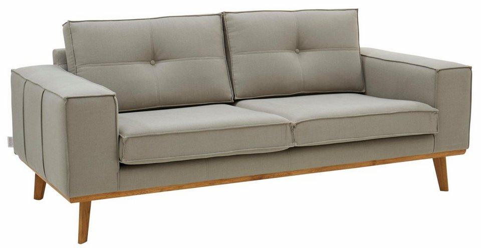 GMK Home & Living 2-Sitzer »Janis«, Leinen oder NaturLEDER mit Eichen-Füßen und Außennaht in natur