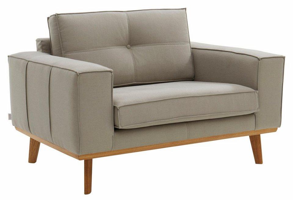 GMK Home & Living Sessel »Janis«, Leinen oder NaturLEDER mit Eichen-Füßen und Außennaht in natur