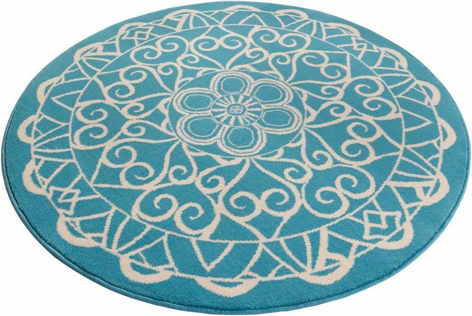 Teppich, rund, Zala Living, »Mandala 1«, gewebt in blau