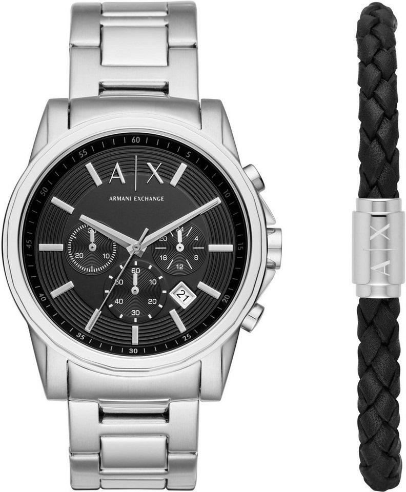 ARMANI EXCHANGE Chronograph »AX7100« mit Armband (Set, 2 tlg.) in silberfarben