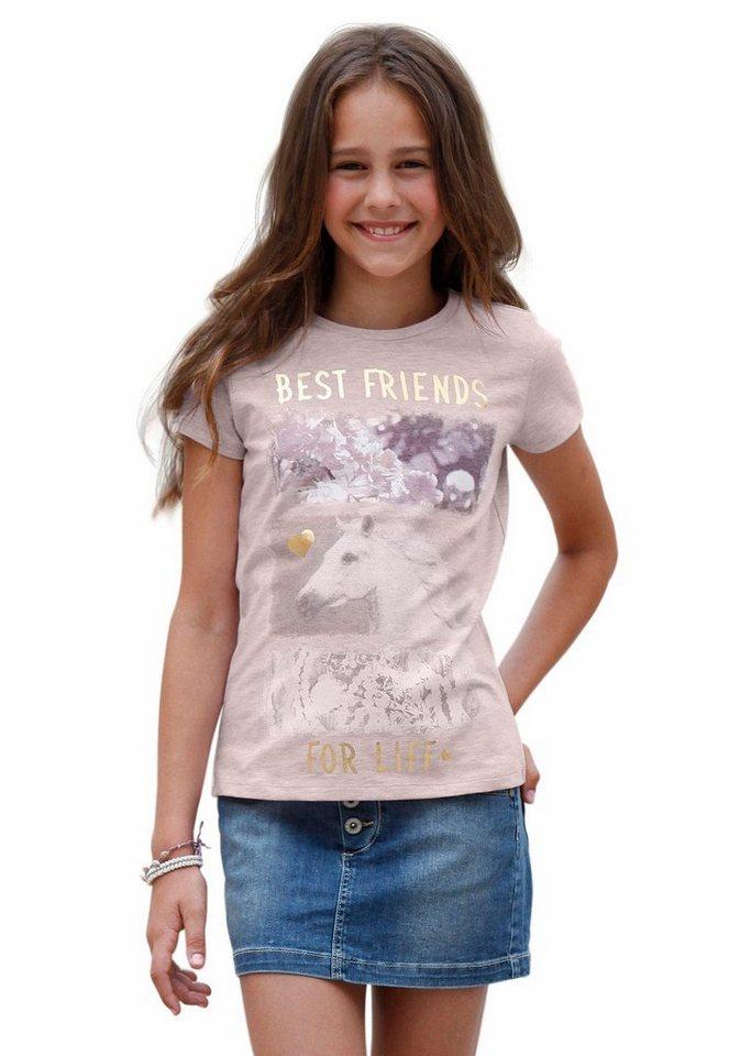 KIDSWORLD T-Shirt hochwertiger Fotodruck in rosa-meliert