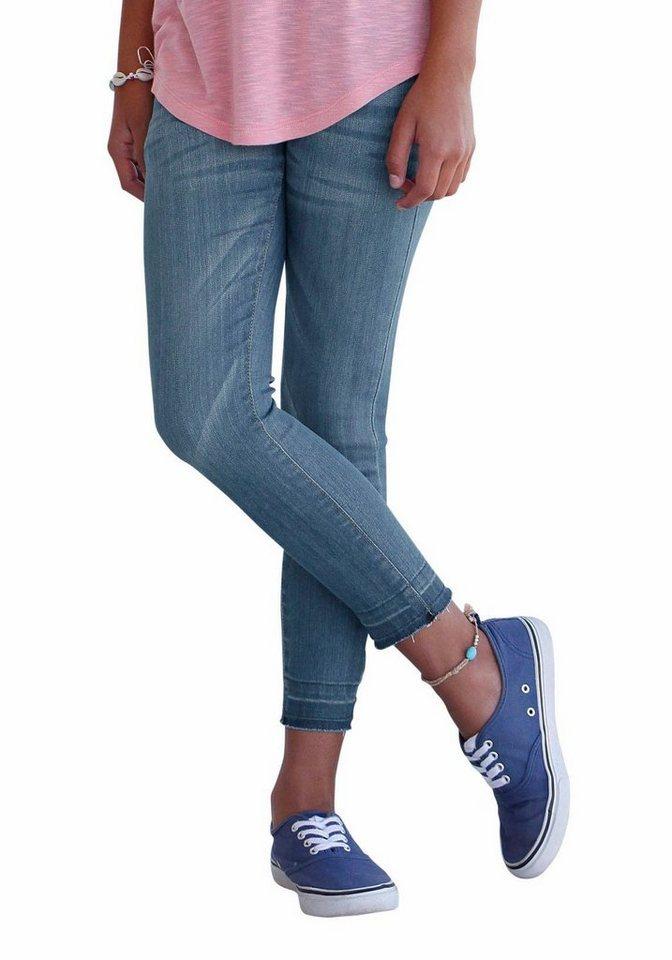 Buffalo 7/8-Jeans mit offenen Saumkanten in blue-denim