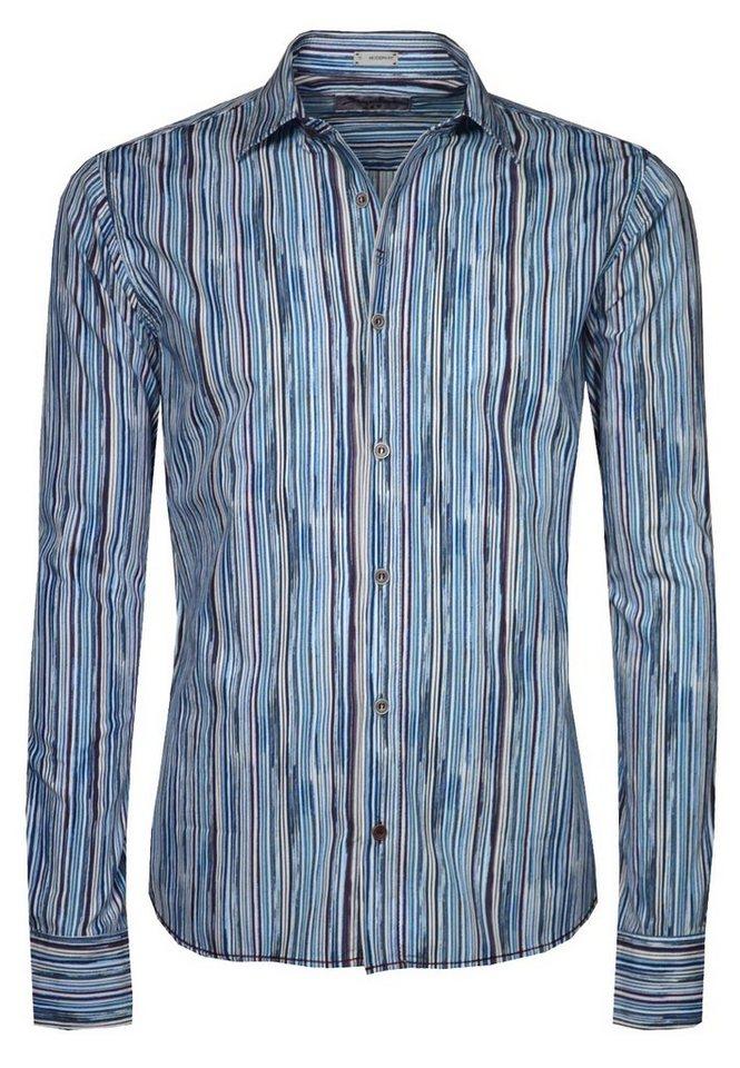 Signum Feines Langarmhemd mit Streifen in moroccon blue