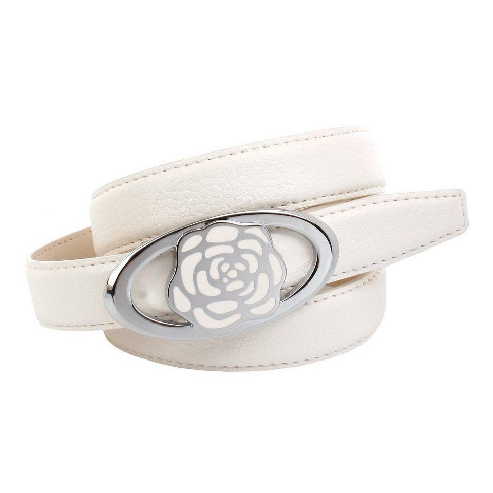Anthoni Crown Ledergürtel mit Koppelschließe in weiß