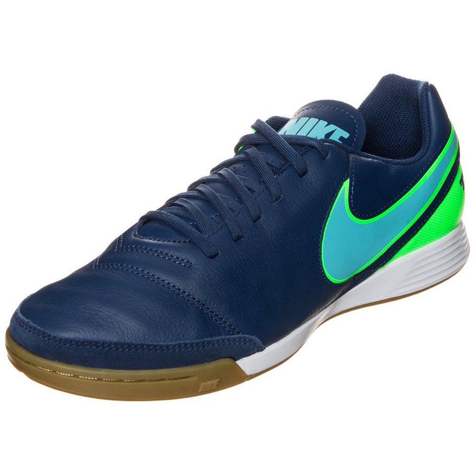 NIKE TiempoX Genio II Leather Indoor Fußballschuh Herren in blau / grün