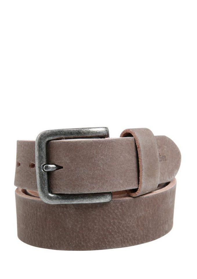 s.Oliver RED LABEL Maskuliner Ledergürtel im Vintage-Look in brown