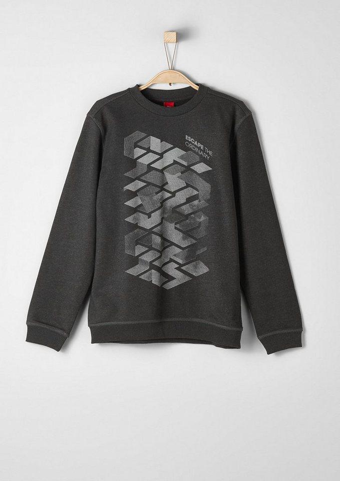 s.Oliver RED LABEL Junior Sweatshirt mit Grafik-Print für Jungen in dark grey melange