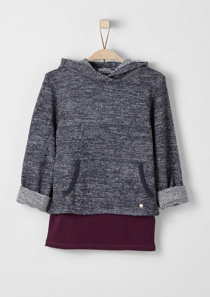 s.Oliver RED LABEL Junior 2-in-1-Sweatshirt mit Top für Mädchen in dark blue melange