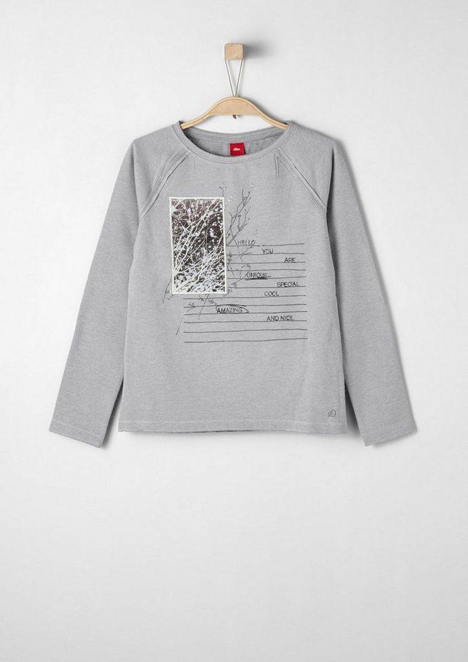 s.Oliver RED LABEL Junior Raglanshirt mit Applikation für Mädchen in grey melange